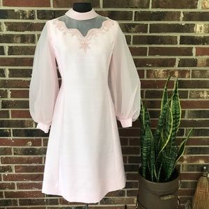 Vintage 60s bubblegum pink dress with puff sleeves